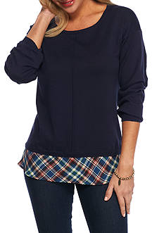 New Directions Petite Long Sleeve Sweater with Herringbone Plaid
