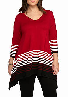 New Directions® Plus Size Stripe Sharkbite Sweater