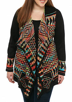 New Directions Plus Size Rainbow Cascade Cardigan