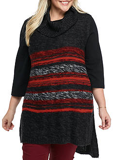 New Directions Plus Size Long Vest with Side Tabs and Stripes