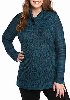 New Directions Plus Size Cowl Neck Sweater