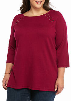 New Directions Plus Size Lace Up Rag Swing Sweater