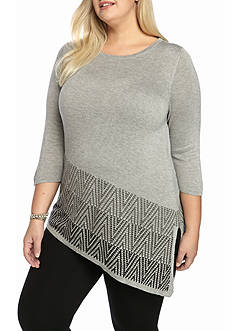 New Directions Plus Size 3/4 Sleeve Asymmetrical Tunic
