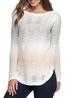 New Directions Wavy Ombre Stripe Curved Hem Sweater