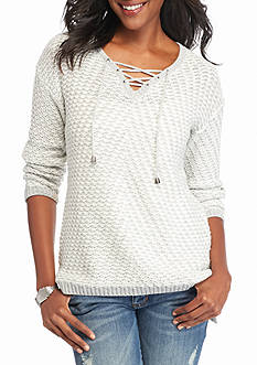 New Directions Lace Up Textured Knit Sweater