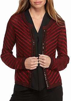 New Directions Petite Crochet and Sequined Knit Cardigan