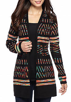 New Directions Petite Rainbow Aztec Printed Cardigan