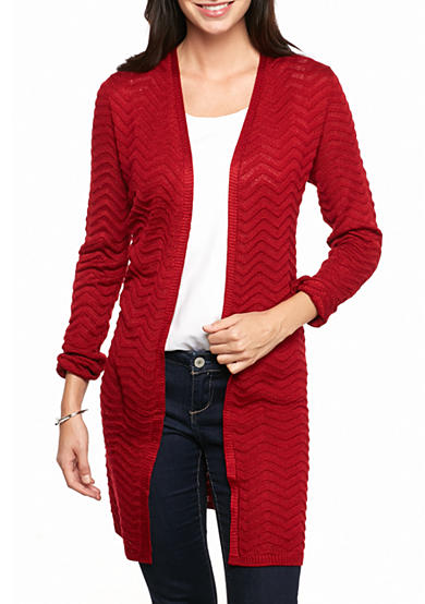 New Directions® Open Front Raised Chevron Cardigan