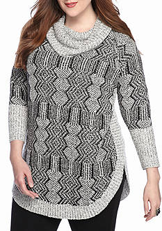 New Directions Cowl Neck Sweater with Three-quarter Sleeves
