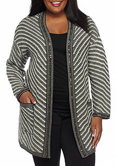 New Directions Plus Size Embellished Cardigan