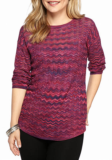 New Directions® Petite Printed Drop Shoulder Sweater