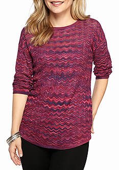 New Directions Petite Printed Drop Shoulder Sweater