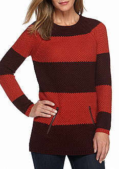 New Directions Wide Stripe Zip Sweater