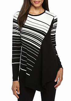 New Directions Pointed Hem Stripe Sweater