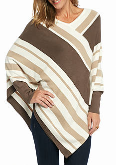 New Directions Wide Stripe Pointed Hem Poncho