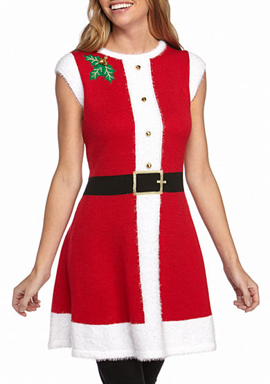 New Directions® Festive Tunic With Holly Detail, Solid Swing Skirt And Hat