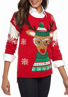 New Directions Reindeer Sequin Sweater