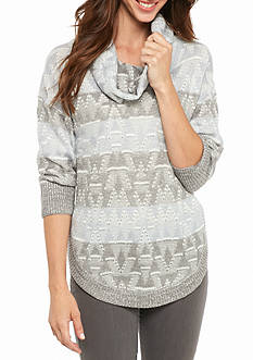 New Directions Patterned Cowl Neck Sweater