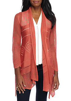 New Directions Mesh Stitch Hanky Hem Cardigan