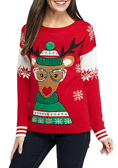 New Directions Petite Size Reindeer With Sunglasses and Bells Sweater