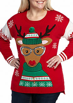 New Directions Plus Size Reindeer Knit Pullover Sweater