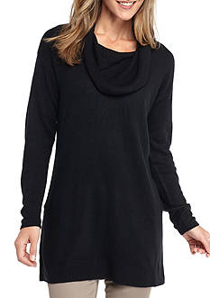New Directions Cowl Neck Side Slit Tunic Sweater