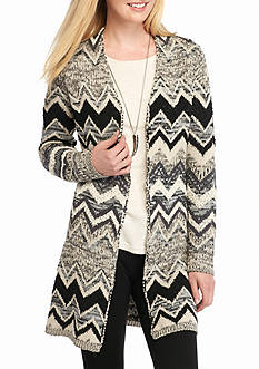 New Directions Long Chevron Open Front Cardigan