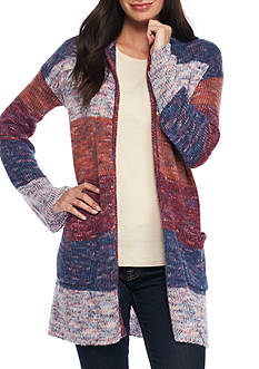 New Directions Multi Color Stripe Hooded Cardigan