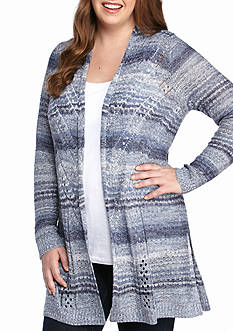 New Directions Plus Size Open Stitch Marled Multi Cardigan