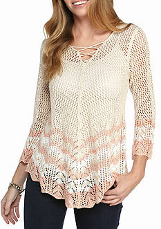 New Directions Chevron Border Lace Up Pointelle Sweater