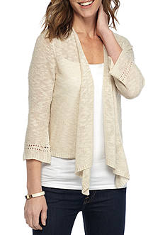New Directions Pointelle Slub Sweater