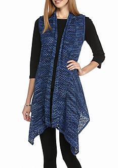 New Directions Marled Drape Front Vest
