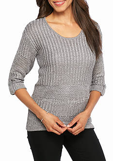 New Directions Mixed Stitch Shimmer Sweater