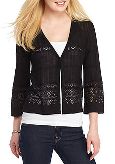 New Directions Fine Gauge Point Open Front Cardigan