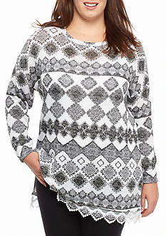 New Directions Plus Size Long Sleeve Lace Hem Hacci Sweater