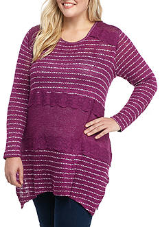 New Directions Plus Size Lace Stripe Top