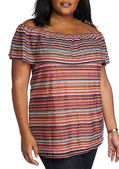 New Directions® Plus Size Stripe Off Shoulder Knit Top