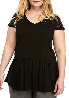 New Directions Plus Size Crochet Back Babydoll Top