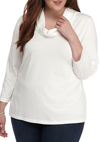 New Directions® Plus Size Drape Neck Knit Top