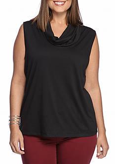 New Directions Plus Size Sleeveless Drape Neck Top