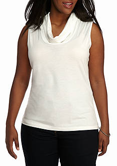 New Directions Plus Size Sleeveless Drape Neck Layering Knit Top