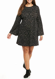 Speechless Plus Size Velvet Ponte Swing Dress