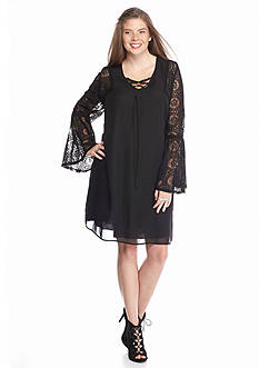 Speechless Plus Size Lace-Up Bell Sleeve Dress
