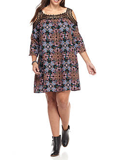 Speechless Plus Size Cold Shoulder With Lace Trim Shift Dress