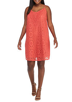 Speechless Plus Size All Over Lace V Neck Dress