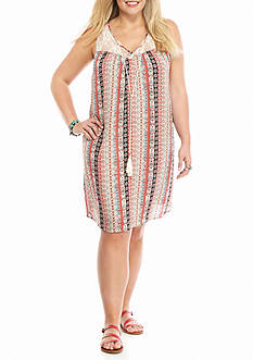 Speechless Plus Size Lace Yoke Printed Dress
