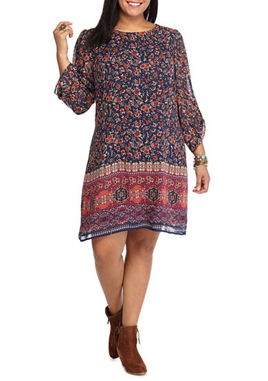 Speechless Plus Size Border Print Shift Dress