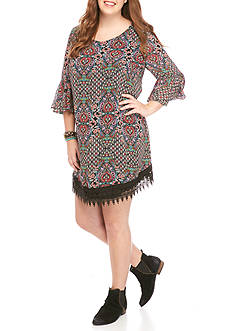 Speechless Plus Size Crochet Hem Print Dress
