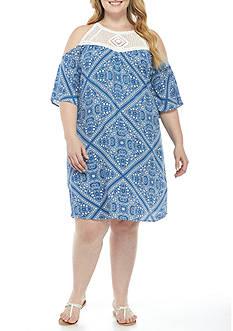 Speechless Cold Shoulder Crochet Yoke Dress