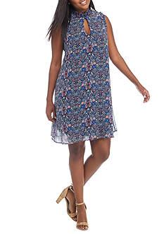 Speechless Plus Size Smocked Neck Keyhole Dress